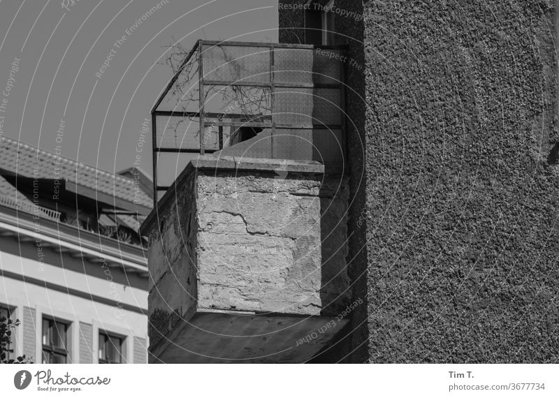 Vacation on Balconies Prenzlauer Berg Berlin Balcony Black & white photo Town Capital city Downtown Old town Exterior shot Deserted Day
