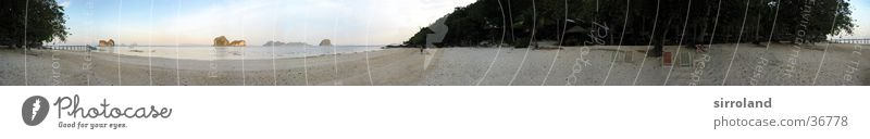 Koh Ngai (Ko Hai) Thailand Koh Whaen Beach Ocean Jetty Deckchair Low tide Coast Sun Calm Palm tree Summer Sailing ship Motorboat Panorama (View) Wide angle