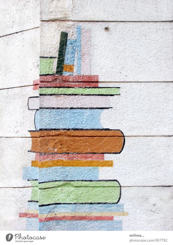 Stack of books, painted on a corner of a house - Reading corner Education Adult Education School Study Media Print media Book Library Wall (barrier)