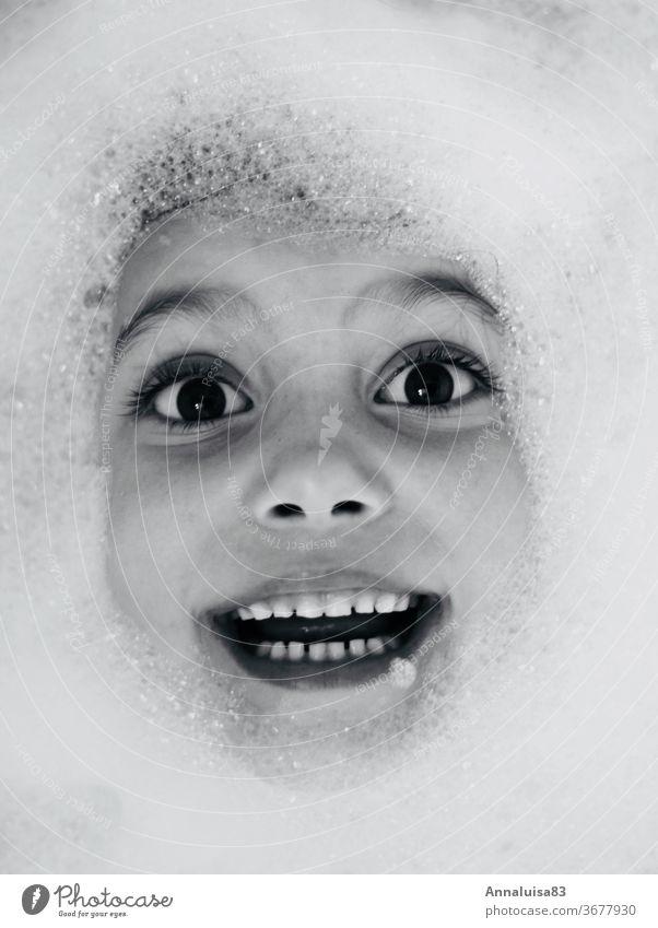 foam bath Water Bathtub Foam Foam bath Black & white photo Eyes Laughter Face Child fun Infancy bathe splash around Joy bathroom smile