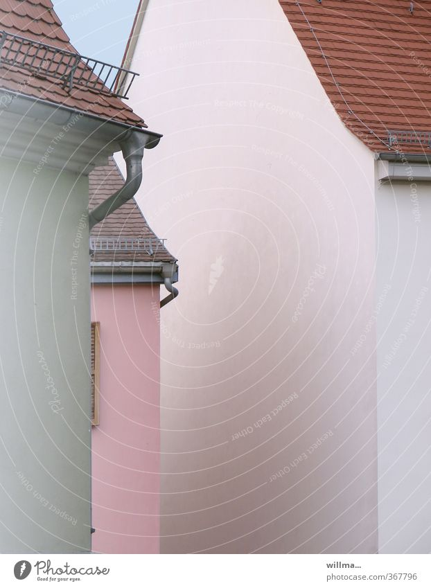 White House (Residential Structure) Pink Facade Village Narrow Town Eaves Gable