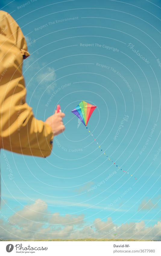 fly a kite climb the kite kites Flying Woman Man Above variegated Joy fun Sky Blue friesennerz Wind