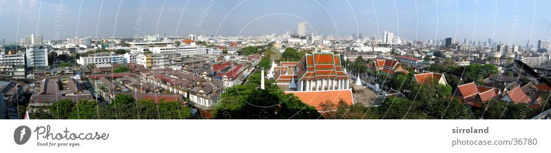 Wat Saket (Golden Mount) Thailand Bangkok Sun Smog Summer Panorama (View) Wide angle Vacation & Travel Far-off places Green Red Success Blue sky Fog