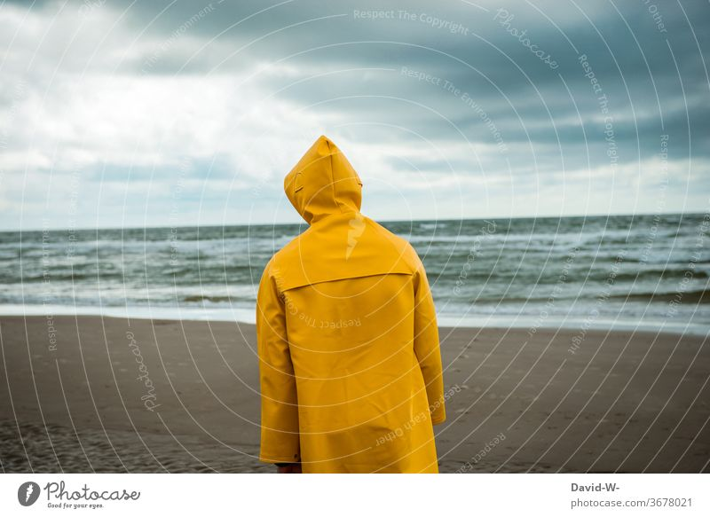 Man strolls along the beach with Frisian mink Beach friesennerz Storm Weather Change in the weather Rain jacket Sky Bad weather Storm clouds Yellow Ocean ocean