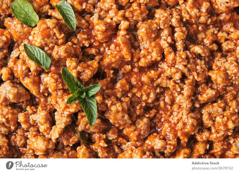 Bolognese pasta with green leaves basil bolognese sauce food serve delicious eat cuisine meal culinary recipe kitchen natural homemade tasty cook dinner yummy
