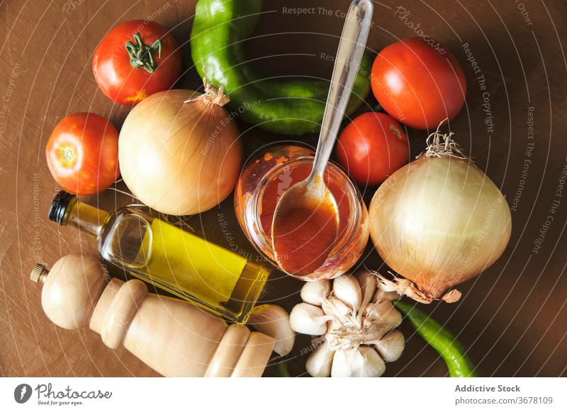 Fresh ingredients for homemade sauce bolognese prepare pepper garlic tomato onion oil food vegetable organic spice aromatic cook kitchen fresh cuisine meal