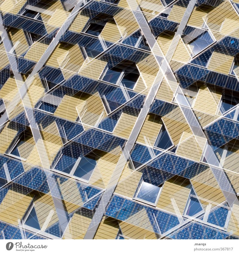 Blue House (Residential Structure) Window Environment Yellow Style Exceptional Facade Design Living or residing Modern Energy industry Perspective Future