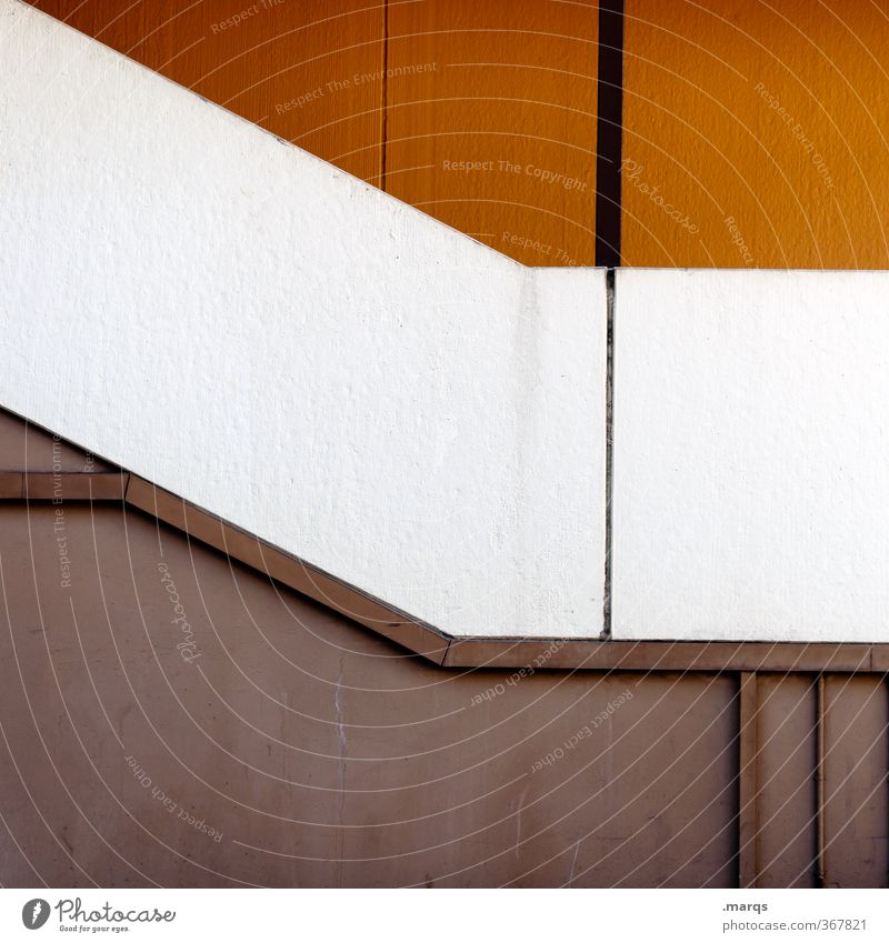 White Style Line Facade Orange Elegant Design Simple Illustration