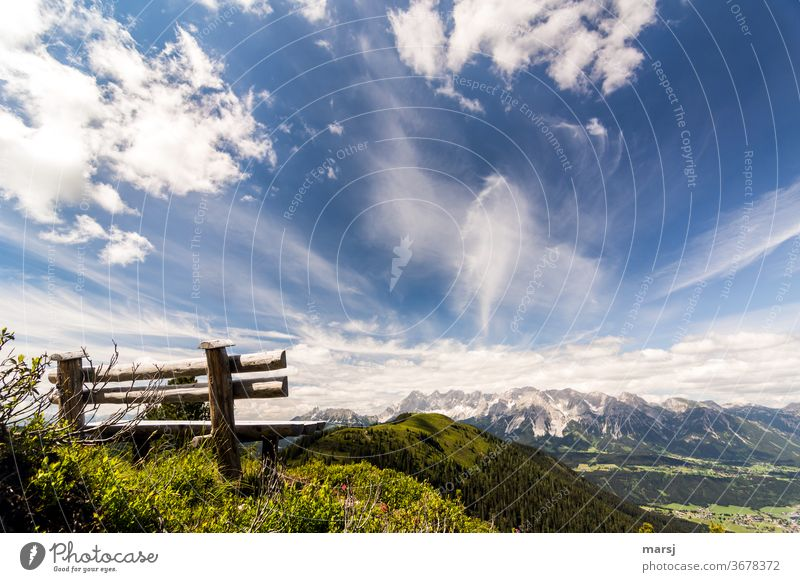 Wooden bench with view to the Hochwurzen, the Dachstein massif and down to Schladming Ennstaler Alps Bench Landscape Nature Hiking Mountain Freedom