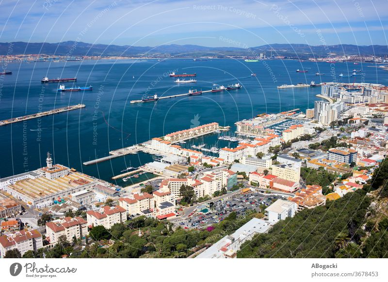 Gibraltar Town and Bay Aerial View gibraltar town above city spain europe travel tourism view site attraction tourist high andalusia spanish british place angle