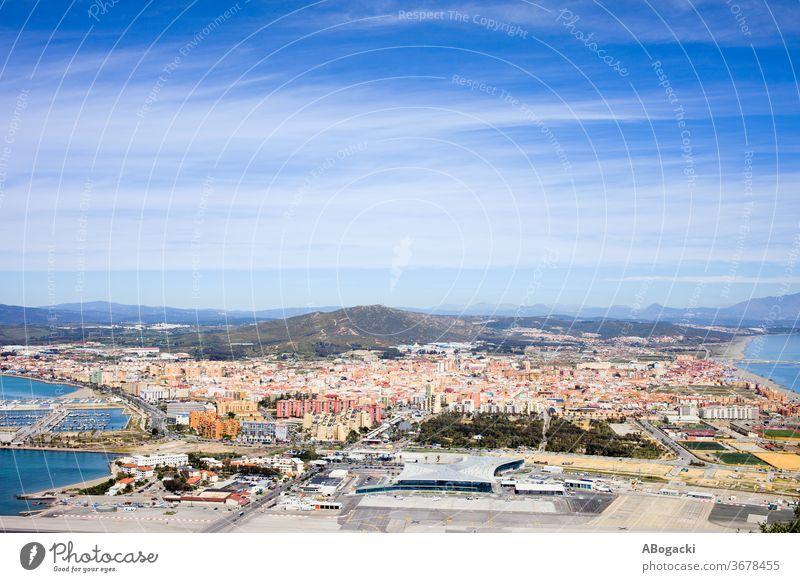 Town of La Linea de la Concepcion in Spain town above city spain europe travel tourism view site tourist high andalusia spanish place angle house building block