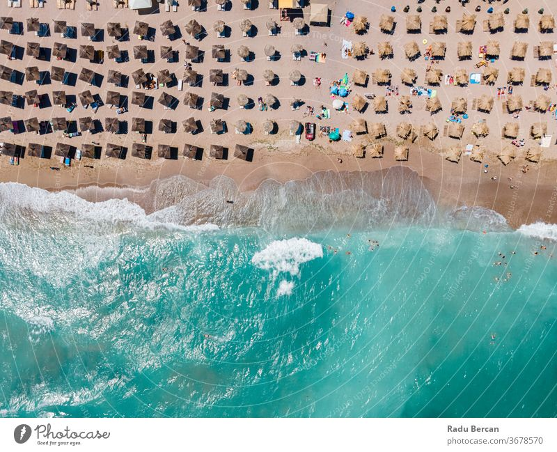 Aerial Beach, People And Umbrellas On Beach Photography, Blue Ocean Landscape, Sea Waves beach aerial view sand background water sea vacation blue travel people