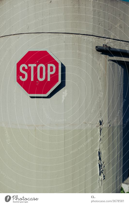 STOP stop Stop sign Road sign standstill Break Wall (building) Red Symbols and metaphors Signs and labeling Signage Transport Warning sign