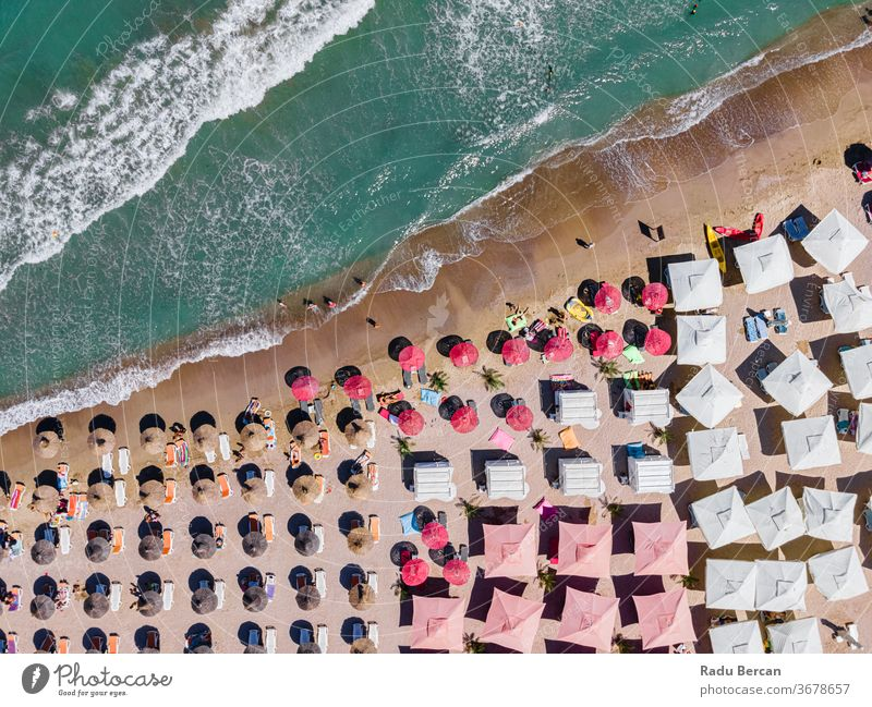 Aerial Beach, People And Colorful Umbrellas On Beach Photography, Blue Ocean Landscape, Sea Waves beach aerial view sand background water sea vacation blue