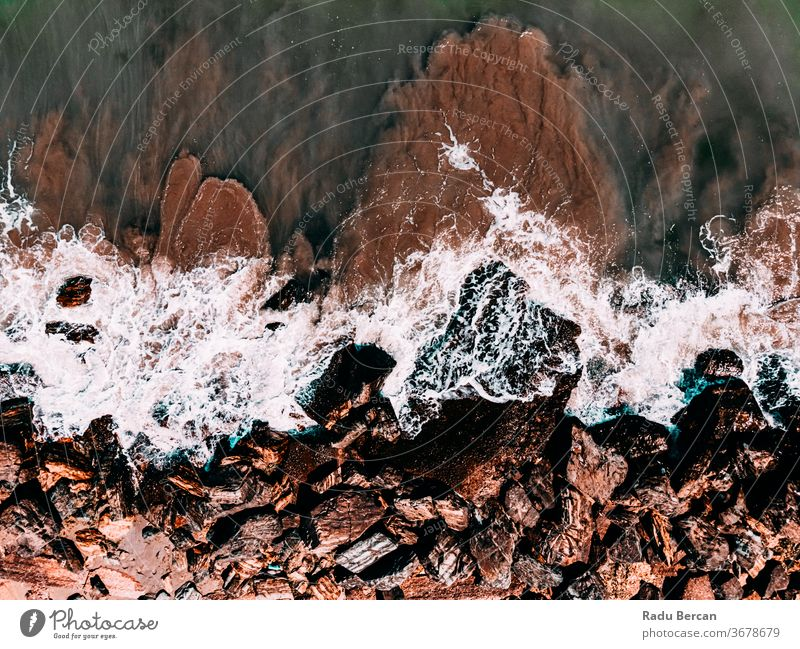 Aerial View Seascape, Ocean Waves Crashing, Rocky Drone Photography rock background waves sea ocean aerial rock beach rocky abstract drone view water nature