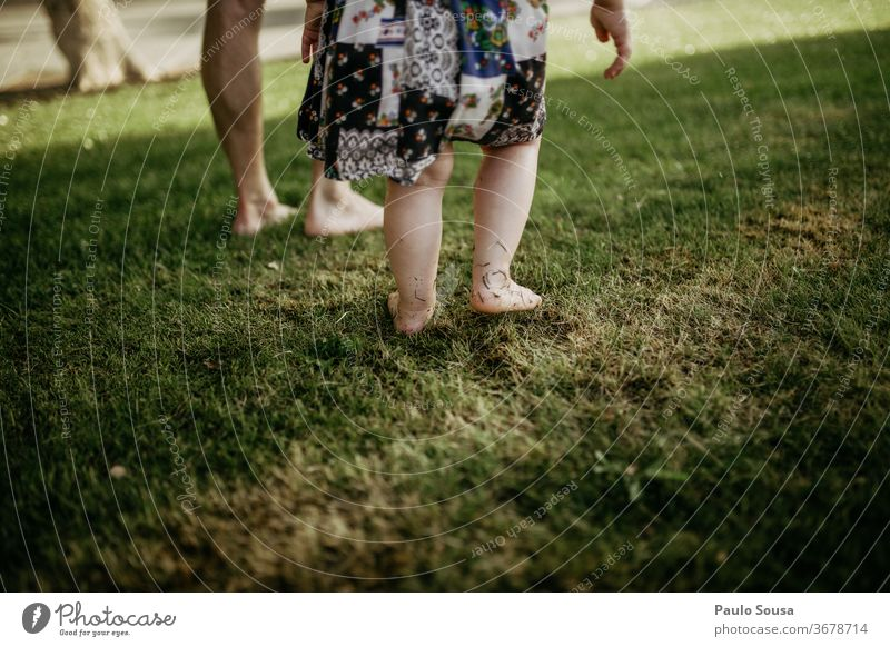 Father with daughter barefoot on grass Barefoot Grass fatherhood Father with child Family & Relations Infancy Together Child Exterior shot Vacation & Travel