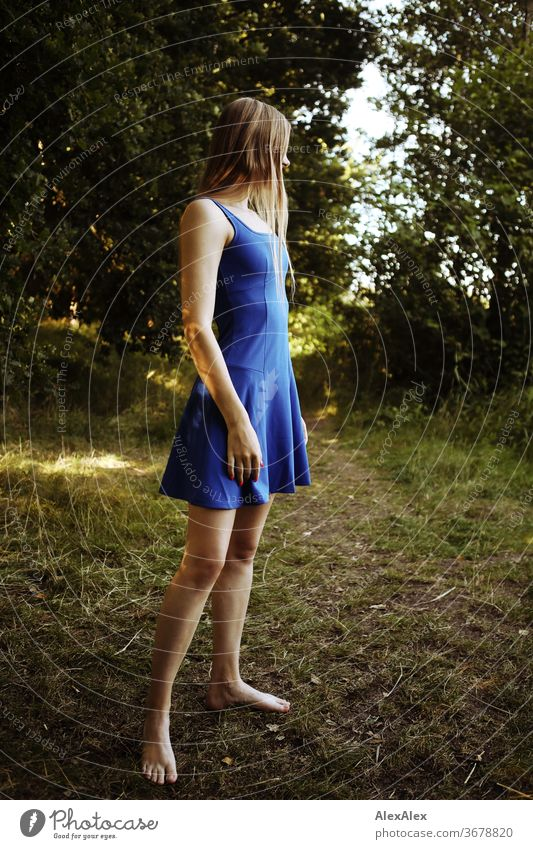 Portrait of a young woman in a blue summer dress in the nature Purity luck Beautiful weather Trip Expectation Sunlight Close-up Day Looking into the camera