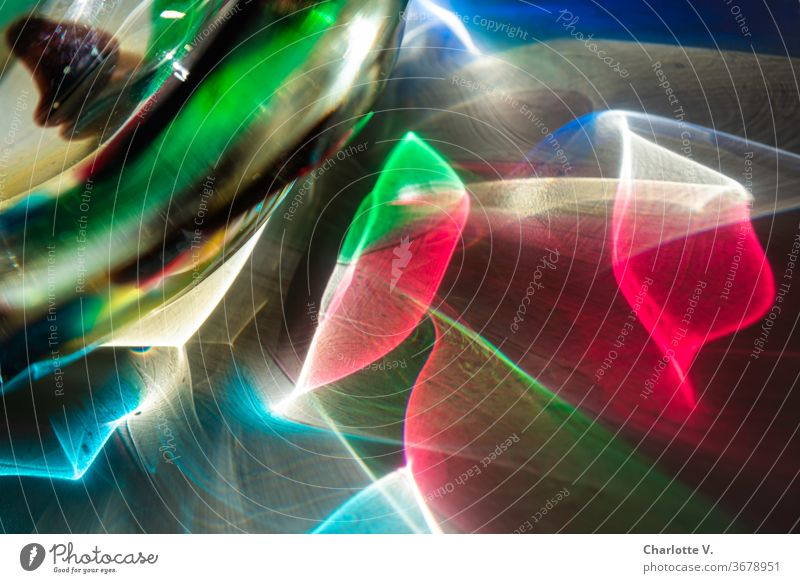 Psychedelic | Colorful light reflections light reflexes Colour photo Close-up Light Day Sunlight psychadellic disco light waves variegated Blue Red green
