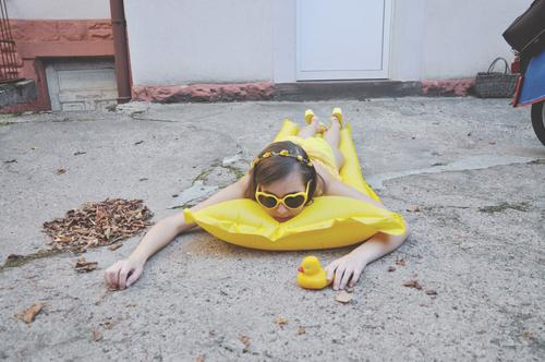 dry swimmer in the backyard (summer 2020) comic satire intractable resourceful Funny Whimsical Yellow swim dry sad or boringly Gray Gloomy stay at home pandemic