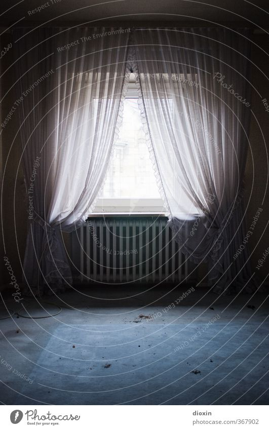 Through night to the light House (Residential Structure) Window Heating Heater Carpet Curtain Frills Living or residing Old Authentic Dirty Trashy Town