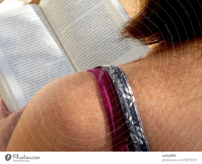 Reading Sunday... Woman Book Shoulder Skin spaghetti strap Novel Sunlight Literature hair Red-haired brown skin Concentrate Print media Page Education