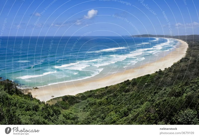 Australian Seacoast Panorama of Beach and Water sea seacoast wave horizon horizon over water forest paradise idyllic nature beauty in nature panorama