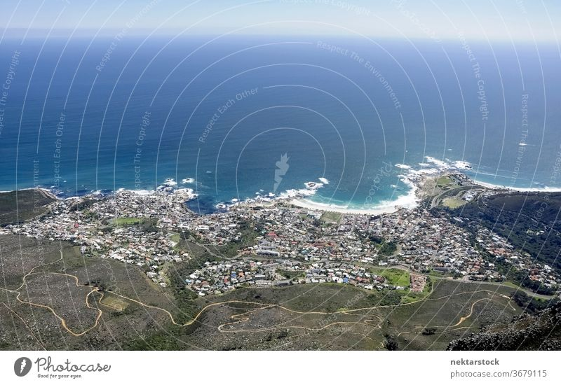 Aerial View of Cape Town Sea and Coast Settlement sea cityscape waves seacoast South Africa topography landscape ocean panorama tranquil scene water seaside