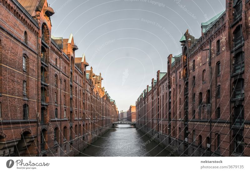 Speicherstadt, Warehouse District in Hamburg Warehouse district Germany canal river water vanishing point classic architecture long shot old no people nobody