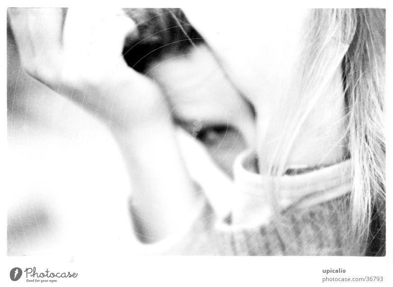 shame Blur Hand Moody Woman Black & white photo Detail Facial expression Eyes