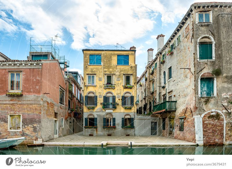 View to Venice street with buildings venice italy canal water house city landmark travel architecture romantic boat beautiful old europe view tourist venezia