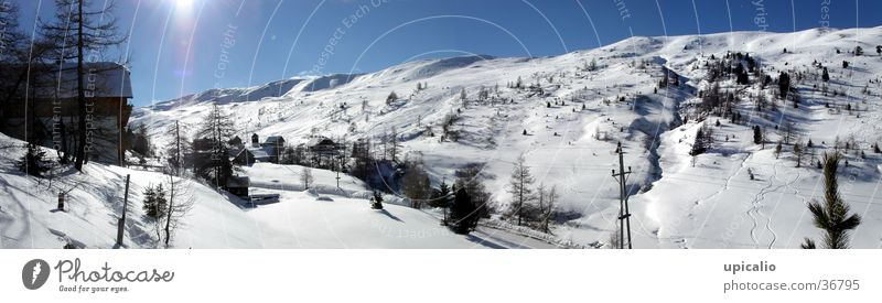 Snow Mountain Landscape Glittering Large Tracks Hut Panorama (Format)