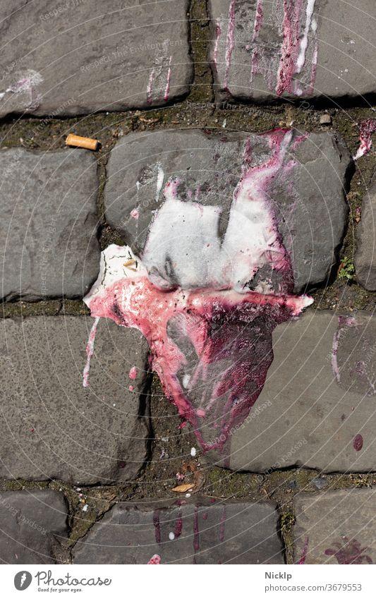 fallen melted ice on cobblestone - Oh no - summer - ice cream - vanilla - strawberry Ice Summer heat wave Hot ardor Molten Melt Cobblestones dropped Fall down