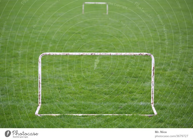 Mini goals on the football field Ball sports Football pitch Sports Sporting Complex Grass Meadow green Soccer Goal Leisure and hobbies soccer Playing