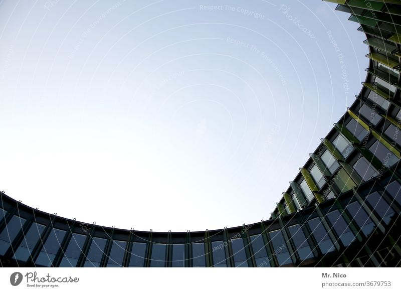 Office building with curved glass facade Architecture Facade built Manmade structures Sky Window Glas facade Upward Round corporate architecture