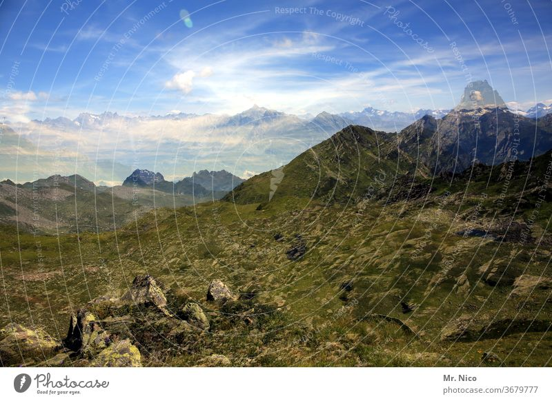 doubled mountains Alps Mountain Sky Austria Vantage point Vacation & Travel Hiking Peak Panorama (View) Nature Landscape Trip Clouds Summer Far-off places
