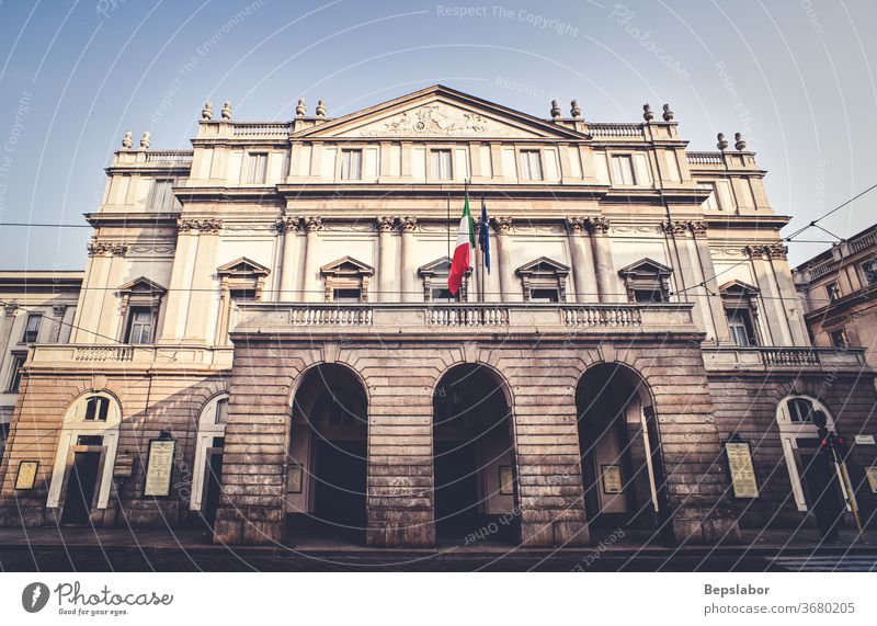 View of the famous neoclassical theater called Teatro alla Scala situated in Milan, Italy Italian academy ancient architecture art attraction beautiful building