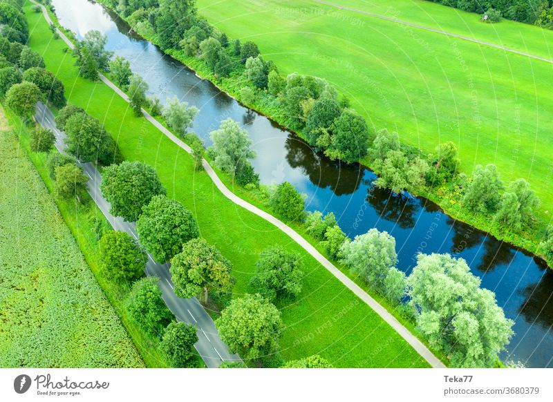 #The river from above 2 River River bank Water Nature Trees in the lake from on high Street Transport drone aerial photograph