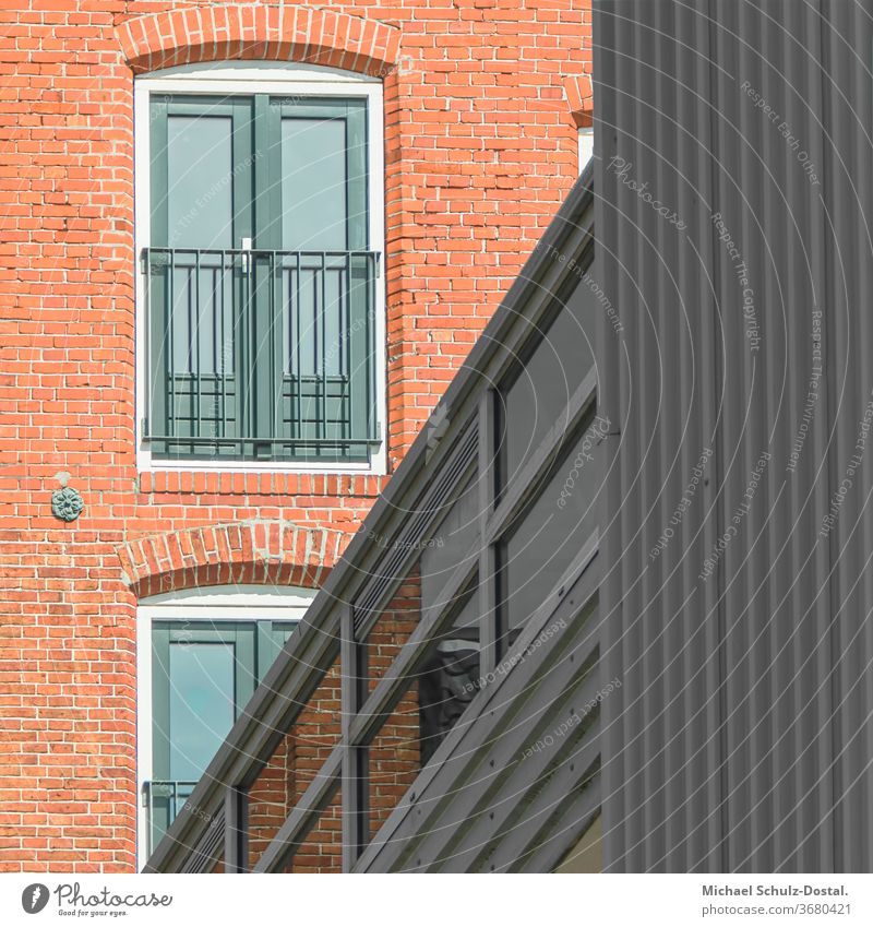 Modernised brick building with aluminium element minimal graphically colors shape Geometry abstract Abstract Colour Square harmony Facade Aluminium Window Brick