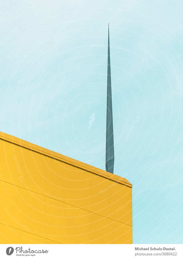 Yellow building corner with spike minimal graphically colors shape Geometry abstract Abstract Colour Square harmony Blue cyan Facade Corner built geometric Sky
