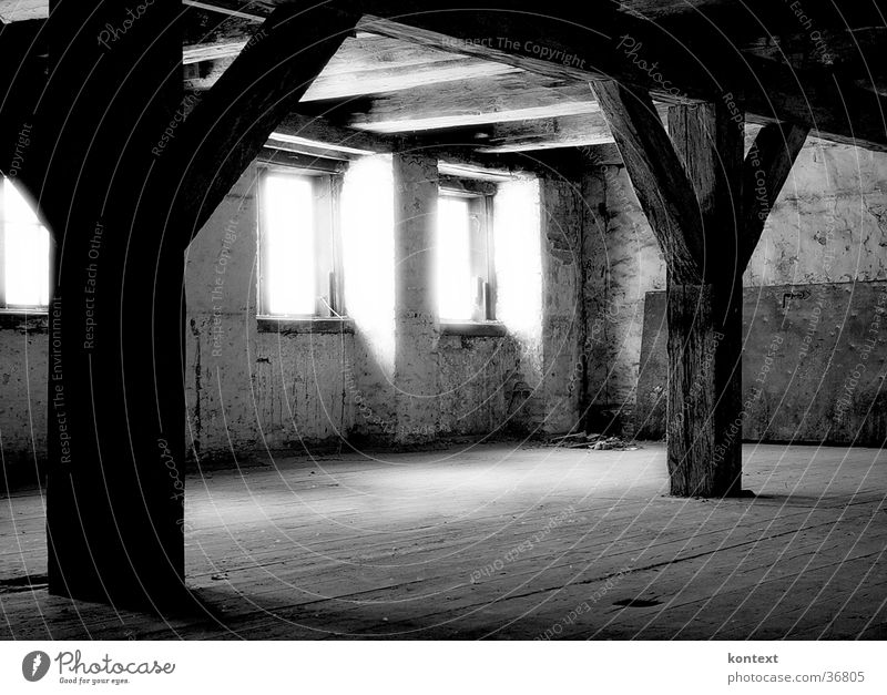 light in the window Window Historic Room Joist Old Black & white photo