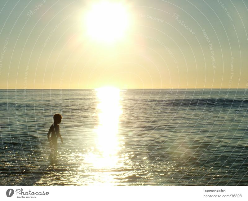 Child Man Water Sun Ocean
