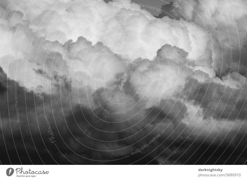 Dramatic cloud sky with cumulus clouds Back-light Twilight Light Silhouette Sunlight Copy Space middle Copy Space bottom Aerial photograph Exterior shot