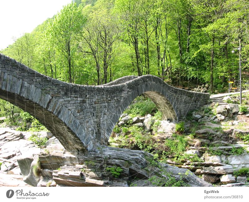 Nature Beautiful Old Mountain Stone Landscape Bridge River Round Switzerland Hill Canton Tessin Stone bridge