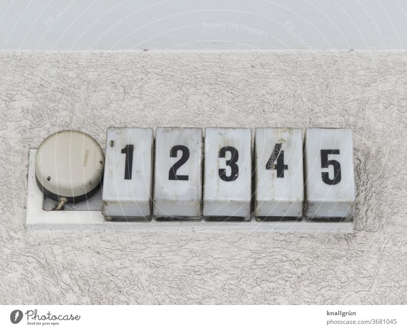 12345 Digits and numbers Wall (building) Side by side Close-up Deserted Exterior shot Number series Copy Space Subdued colour Dirty frowzy Rectangle