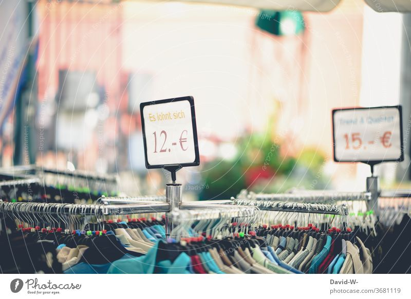 Retail / Clothing - reduced prices in a shopping store Reduced garments shank Load Shop Clothes Prices Advertising Offer Curl Retail sector Economy Shopping
