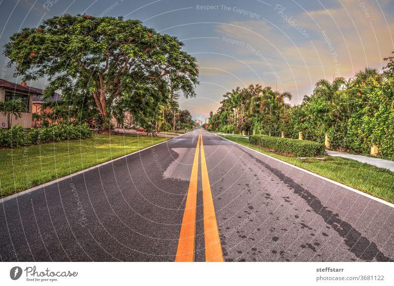Stretch of road along Vanderbilt Drive in Naples Park Road journey roadway path travel Florida coast coastline coastal landscape nature sunrise dawn daybreak
