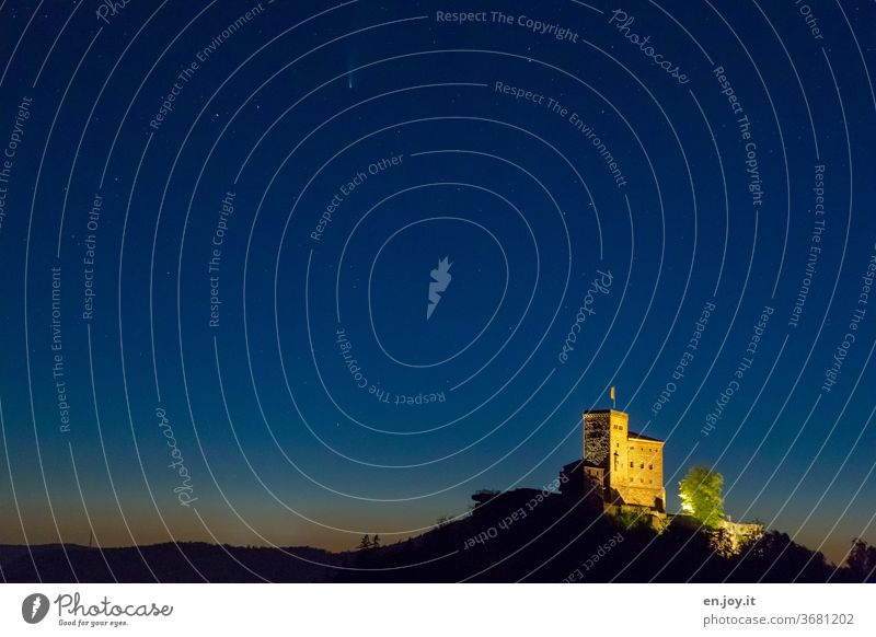 Trifels Castle with Neowise castle trifels neowise Comet Ruin Light Shadow mountain blue hour Evening Night Sky stars Night sky sunset Blue Illuminated