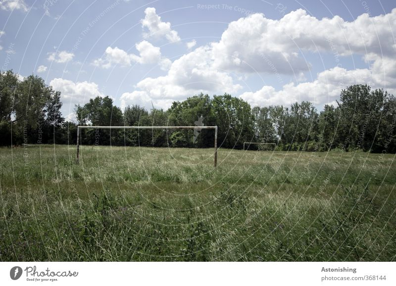 the old football field Sports Ball sports Soccer Sporting Complex Football pitch Environment Nature Landscape Plant Sky Clouds Summer Weather Beautiful weather