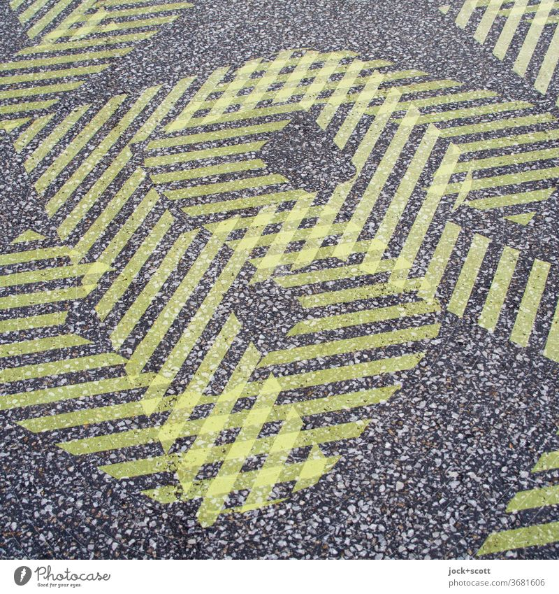 RS SR Double exposure Ground markings Neon Abstract Pattern Structures and shapes Design Letters (alphabet) Silhouette Experimental Detail Yellow Lanes & trails