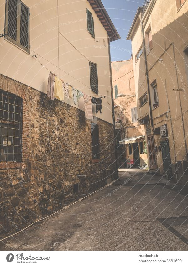 Castiglione della Pescaia Town Italy Alley Tuscany Architecture Deserted Historic House (Residential Structure) Old town Facade built Exterior shot Downtown